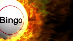 Fiery BINGO Ball, with Flames, Loop, 4k Stock Footage