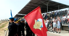 Spectators  on the podium during the celebration of the airborne forces Stock Footage