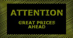 ATTENTION GREAT PRICES AHEAD scribble text sign Stock Illustration