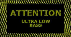 ATTENTION ULTRA LOW BASS scribble text sign - stock illustration