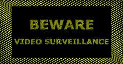 BEWARE VIDEO SURVEILLANCE scribble text sign Stock Illustration