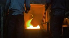 Men at work, forging steel machine inside industrial plant, Stock Footage