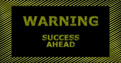 WARNING SUCCESS AHEAD scribble text sign Stock Illustration