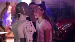 Girl talk with robot humanoid, science and modern technologies Stock Footage