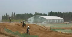 Motorcycle racing, motocross, the slope of sandy mountain Stock Footage
