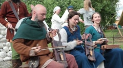 The annual festival in Kolomenskoye. Reconstruction of Ancient Rus. Street Stock Footage