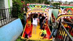 Gondola docking at the Xochimilco Canals, Mexico City. Stock Footage