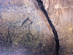 Old cave. Black paint of horses on sandstone wall, - stock photo