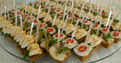 Assortment of canapes. Banquet service - stock footage
