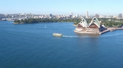 Ferry out front of Sydney Opera House Stock Footage
