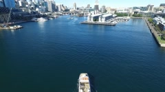 Aerial footage of Ferry entering Darling Harbour, Sydney Stock Footage