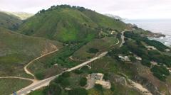 4k aerial view around bridge big sur ocean waves Stock Footage