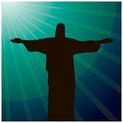 Rio De Janeiro card with Jesus Christ statue Stock Illustration