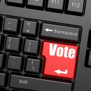 Red enter button on computer keyboard, Vote word - stock illustration