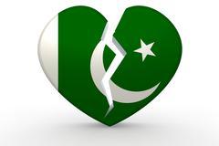 Broken white heart shape with Pakistan flag Stock Illustration