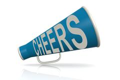Blue megaphone with cheer word - stock illustration