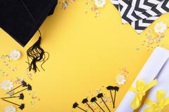 Yellow black and white theme graduation background Stock Photos