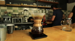 Chemex Coffee Brewing on the table Stock Footage