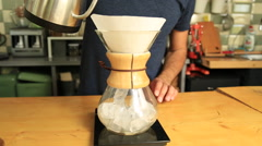 Chemex Coffee Brewing in the Cafe Stock Footage