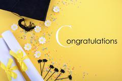 Yellow black and white theme graduation background Stock Photos