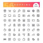 Shopping Line Icons Set Stock Illustration