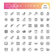 Game Items Line Icons Set Stock Illustration