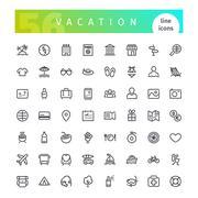 Vacation Line Icons Set Stock Illustration