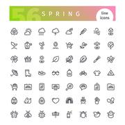 Spring Line Icons Set Stock Illustration
