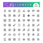Halloween Line Icons Set Stock Illustration
