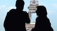 Silhouette People With Eiffel Tower in The Background Stock Footage