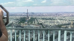 Paris Panoramic View Zoom Out To Tourist In Telescope In Montparnasse Tower - stock footage