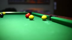 White ball hitting another ball during pool match Stock Footage