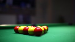 First shot during a billiards game Stock Footage