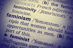 Feminism word in English dictionary. Close-up shot Stock Photos