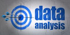 Data concept: target and Data Analysis on wall background - stock illustration
