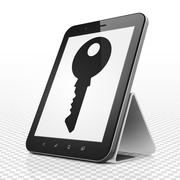 Privacy concept: Tablet Computer with Key on display - stock illustration
