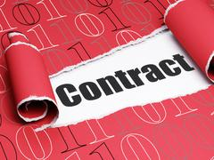 Business concept: black text Contract under the piece of  torn paper - stock illustration