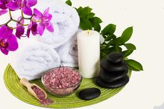 Spa product concept with pink sea salt Stock Photos