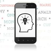 Advertising concept: Smartphone with Head With Lightbulb on display Stock Illustration