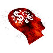 Advertising concept: Head With Finance Symbol on Digital background Stock Illustration