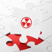Science concept: Radiation on puzzle background Stock Illustration