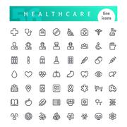 Healthcare Line Icons Set Stock Illustration