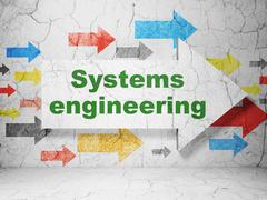 Science concept: arrow with Systems Engineering on grunge wall background - stock illustration