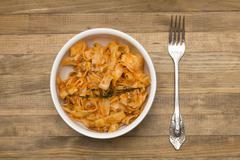 Pasta  fettuccine bolognese in  dish Stock Photos