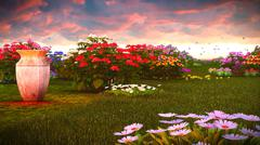 Summer wildflowers on meadow 3d rendering - stock illustration