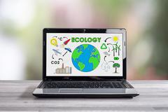 Ecology concept on a laptop screen - stock photo