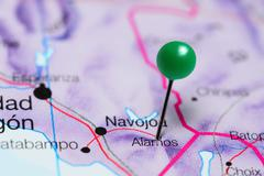 Alamos pinned on a map of Mexico Stock Photos