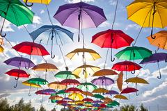 Installation from multicolored umbrellas in the park of the city of Astana, Stock Photos