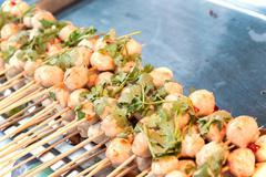 Pork meat ball grill Stock Photos