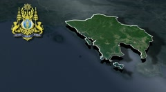 Koh Kong with Coat Of Arms Animation Map - stock footage